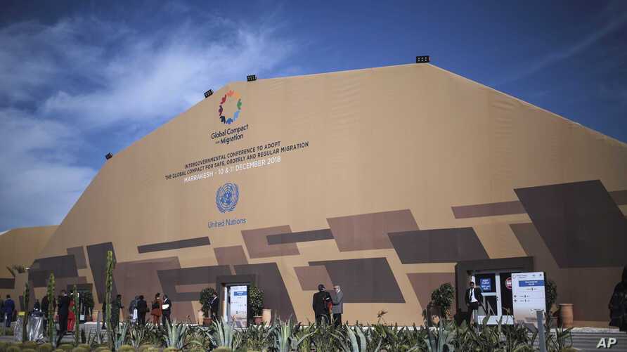 A view of the venue during the second and final day at the UN Migration Conference in Marrakech, Morocco, Dec.11, 2018.