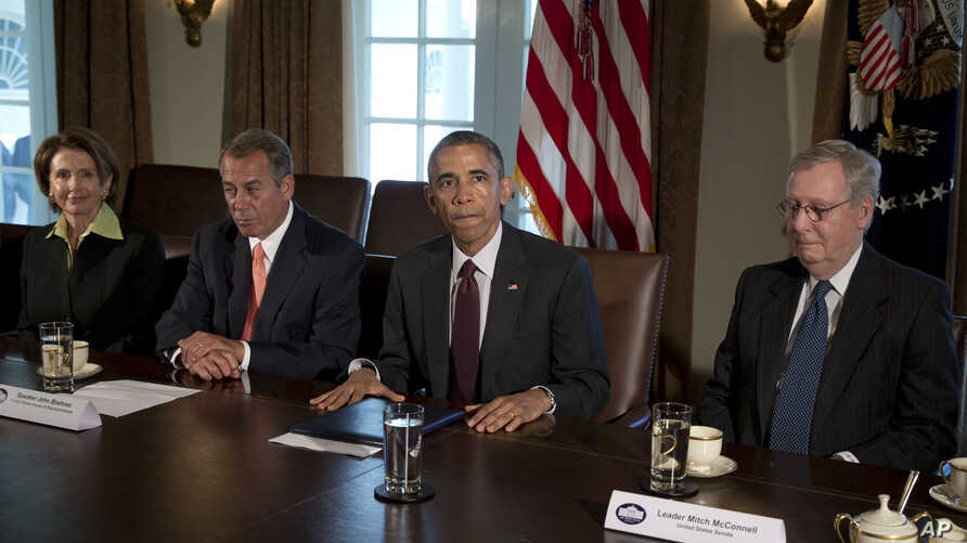 President Barack Obama, joined by (L-R) House Minority Leader Nancy Pelosi, House Speaker John Boehner and Senate Majority Leader Mitch McConnell, speaks to the media after a meeting with the bipartisan, bicameral leadership of Congress at the White