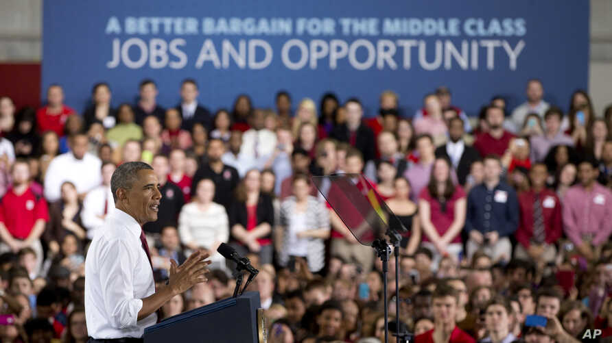 President Barack Obama gestures as he speaks about the economy, jobs, and manufacturing, at North Carolina State University in Raleigh, N.C., Jan. 15, 2014.