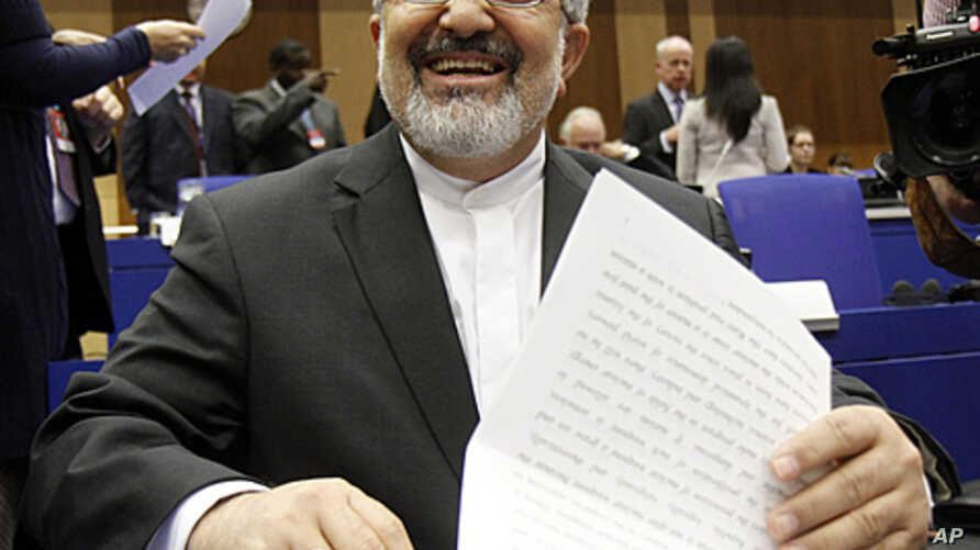 Iran's ambassador to the International Atomic Energy Agency (IAEA) Ali Asghar Soltanieh waits for the start of the IAEA board of governors meeting at the International Center, in Vienna, Austria, March 8, 2012.
