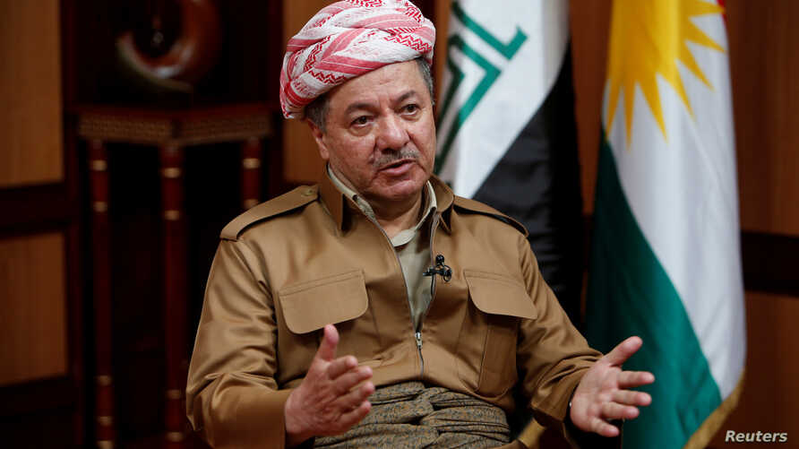 Iraq's Kurdistan region's President Massoud Barzani speaks during an interview with Reuters in Erbil, Iraq, July 6, 2017.
