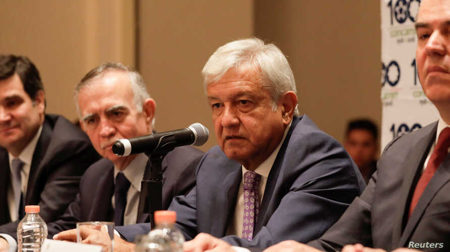 Mexico's president-elect Andres Manuel Lopez Obrador speaks during a news conference after a meeting with the Confederation of Industrial Chambers (CONCAMIN) in Mexico City, Mexico, July 9, 2018.