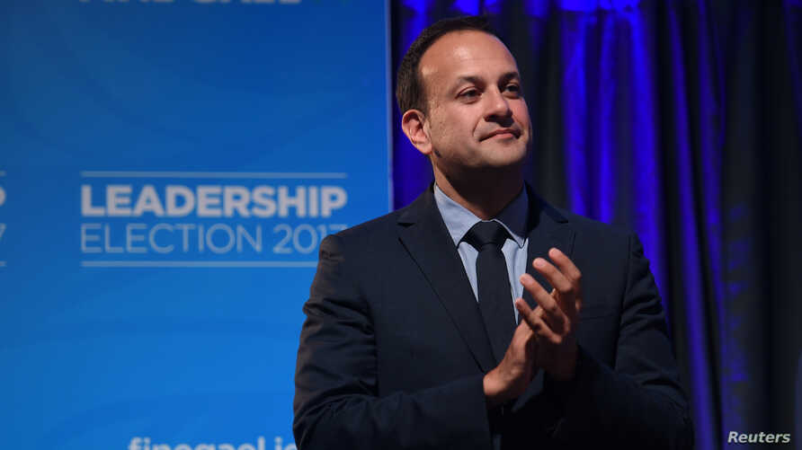Leo Varadkar applauds on stage as he wins the Fine Gael parliamentary elections to replace Prime Minister of Ireland (Taoiseach) Enda Kenny as leader of the party in Dublin, Ireland, June 2, 2017.