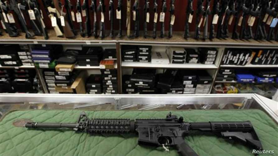 AR-15 style rifle is displayed at the Firing-Line indoor range and gun shop, in Aurora, Colorado, July 2012. Similar weapons have been used in at least four high-profile shootings in the past year, including most recently the Connecticut school shoot