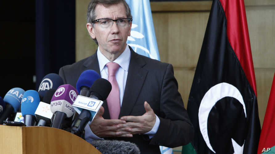 FILE - U.N. Special Representative for Libya Bernardino Leon gives a statement to journalists as Libyan peace talks resume in Skhirat, Morocco, Aug. 28, 2015.