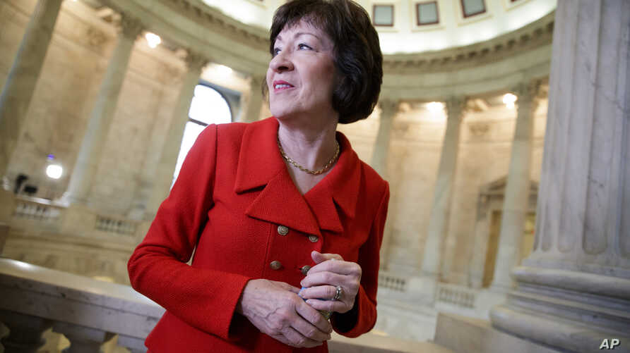 Sen. Susan Collins, R-Maine, a member of the Senate Appropriations Committee and the Senate Intelligence Committee, finishes a television news interview on Capitol Hill in Washington, March 28, 2017.