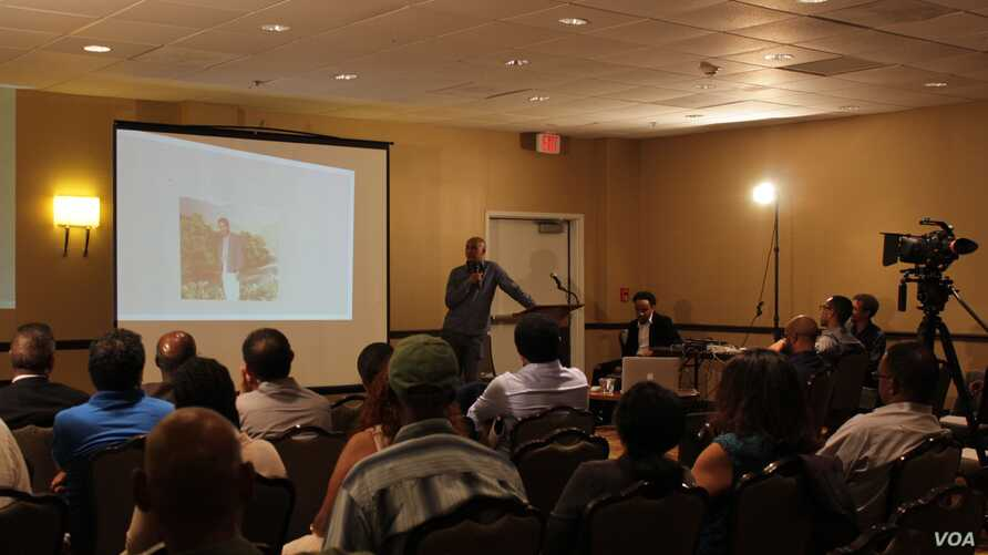 A group of Eritreans gathered at an event in Alexandria, Virginia, May 28, 2016, to share stories about the journalists and advocate for their release.