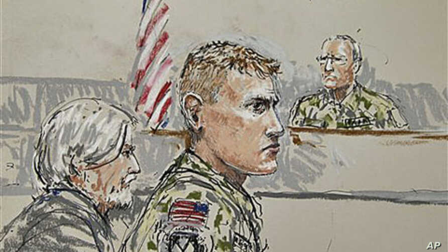 U.S. Army Staff Sgt. Calvin Gibbs (C) is shown in this courtroom sketch, with Phillip Stackhouse, Gibbs' civilian attorney (L), and Investigating Officer Col. Thomas P. Molloy (R), who is overseeing the Article 32 hearing in a military courtroom on J