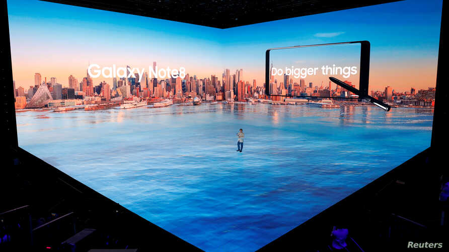Koh Dong-jin, president of Samsung Electronics' Mobile Communications introduces the Galaxy Note 8 smartphone during a launch event in New York City, U.S., August 23, 2017.