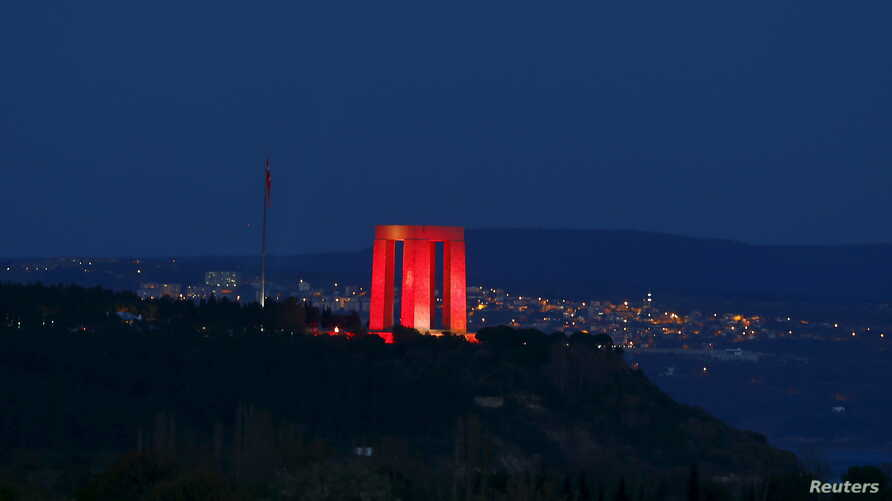 A Turkish memorial is seen on the hills overlooking the Canakkale straits, where the first battle of the Gallipoli campaign was fought ahead of the 100th anniversary of the Battle of Gallipoli, in Gallipoli, April 23, 2015.