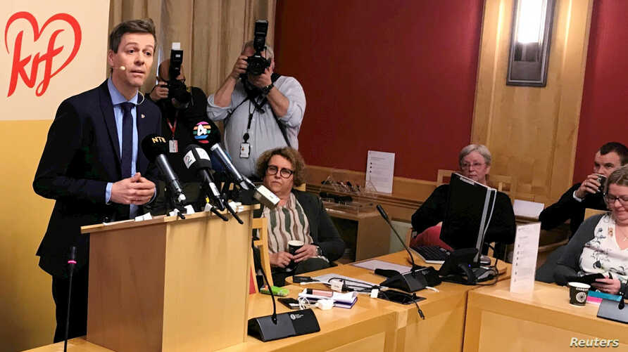The leader of the Norwegian Christian Democratic Party Knut Arild Hareide speaks to his party's board at the Norwegian parliament in Oslo, Norway March 19, 2018.