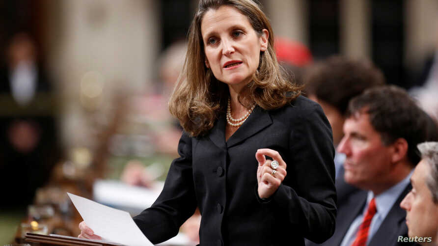 Canada's Foreign Affairs Minister Chrystia Freeland delivers a speech on Canada's foreign policy in the House of Commons on Parliament Hill in Ottawa, Ontario, June 6, 2017.