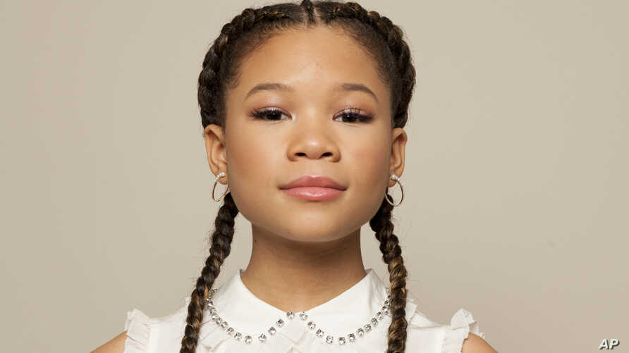 "Storm Reid poses for a portrait at The W Hotel in Los Angeles to promote her film, ""A Wrinkle in Timel,"" Feb. 25, 2018. Movie opens nationwide on Friday, March 9."