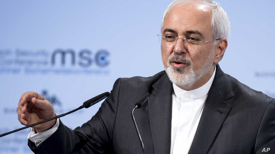 Iran's foreign minister Mohammad Javad Zarif, speaks at the Security Conference in Munich, Feb. 18, 2018.