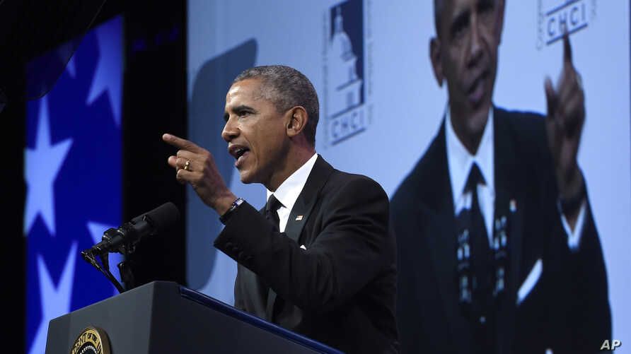 President Barack Obama speaks at the Congressional Hispanic Caucus Institute's (CHCI) 38th Anniversary awards gala in Washington, Thursday, Oct. 8, 2015.