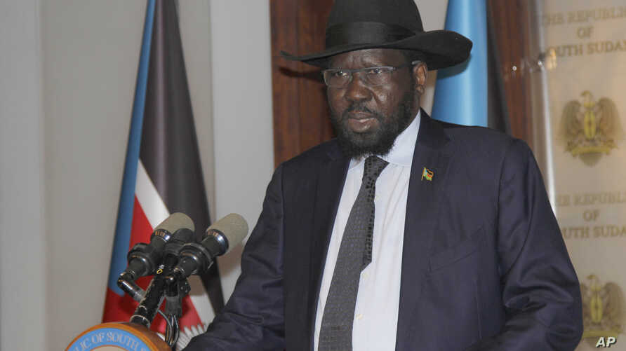 President of South Sudan Salva Kiir Mayardit speaks on the occasion of the sixth anniversary of his country's independence at the presidential palace in Juba, July 9, 2017.