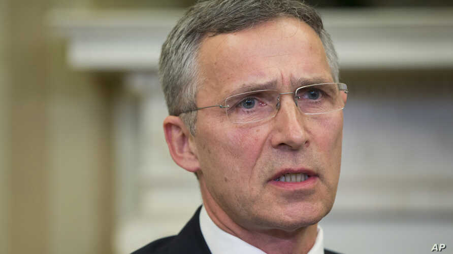 NATO Secretary General Jens Stoltenberg speaks during his meeting with President Barack Obama in the Oval Office of the White House in Washington, April 4, 2016.