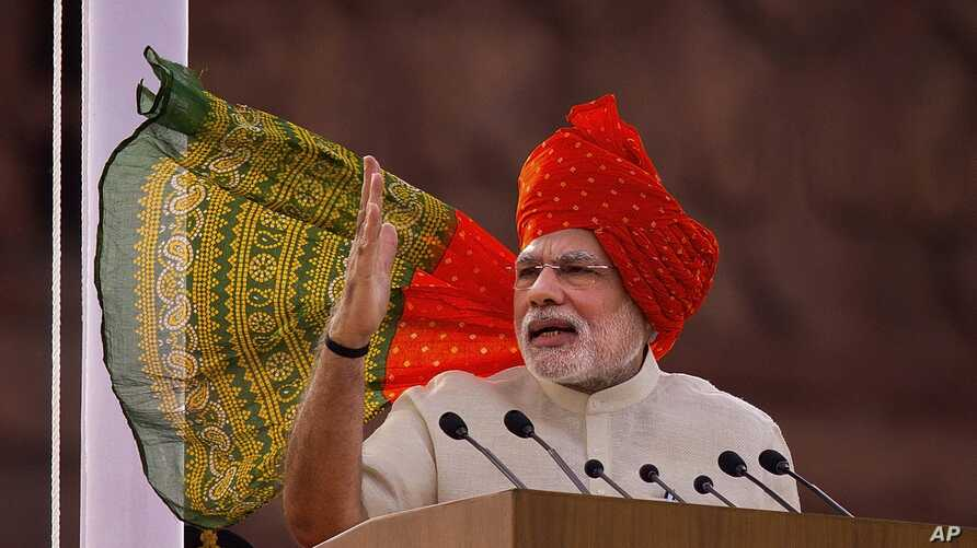 Indian Prime Minister Narendra Modi  addresses the nation on the country's Independence Day in New Delhi, India, Aug. 15, 2014.