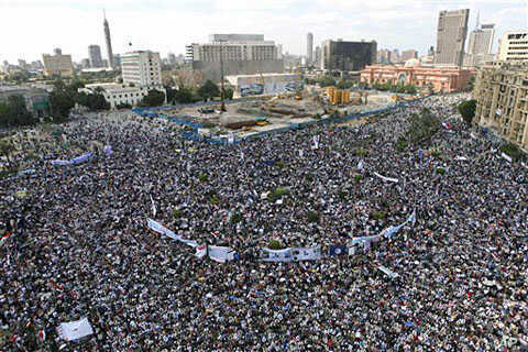 Thousands of Egyptians protest in Cairo's central Tahrir Square, the focal point of Egyptian uprising, to demand the prosecution of ousted president Hosni Mubarak and his regime, April 8, 2011
