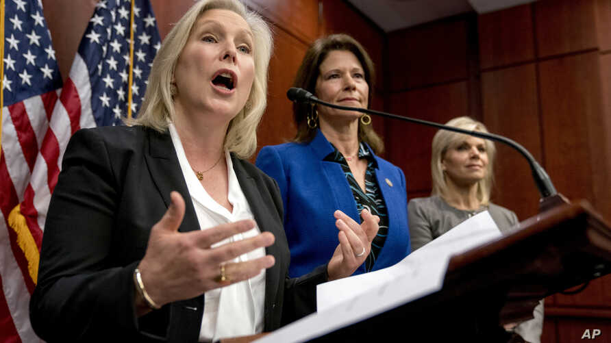 Sen. Kirsten Gillibrand, D-N.Y., speaks at a news conference on Capitol Hill, Dec. 6, 2017. Gillibrand and fellow female Democratic senators have united in calling for Sen. Al Franken to resign amid sexual misconduct allegations. Also pictured are Re...