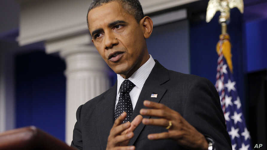 President Barack Obama speaks in the White House briefing room in Washington, Monday, Aug. 20, 2012.