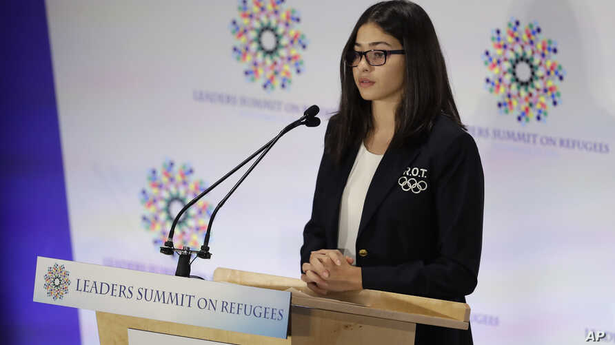 Yusra Mardini, a swimming for the Refugee Olympic Team, speaks during the Leaders Summit on Refugees during the 71st session of the United Nations General Assembly at UN headquarters, Sept. 20, 2016.