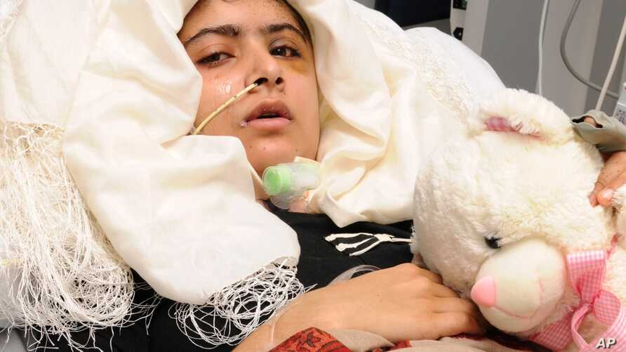 Image released on October 19, 2012, shows Pakistani teenager Yousufzai, who is recovering in Queen Elizabeth Hospital in Birmingham, England, after being shot in the head by Taliban gunmen.