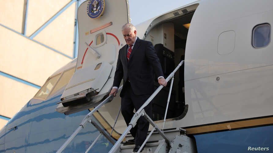 U.S. Secretary of State Rex Tillerson arrives at Benito Juarez international Airport in Mexico City, Feb. 22, 2017.