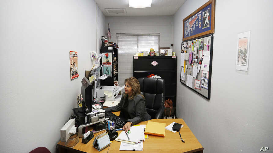 """Beatrice """"Bea"""" Angela Duran works in her office at the Culinary Union, Dec. 18, 2018, in Las Vegas."""
