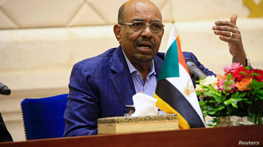Sudan's President Omar Hassan al-Bashir speaks during a press conference after the oath of the prime minister and first vice president Bakri Hassan Saleh at the palace in Khartoum, Sudan, March 2, 2017.
