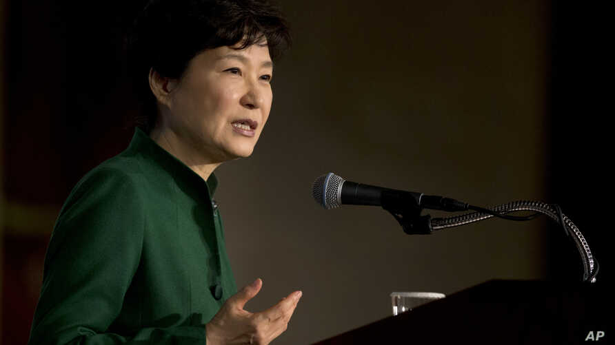 South Korean President Park Geun-hye speaks to the U.S. Chamber of Commerce and the U.S.-Korea Business Council annual meeting in Washington, Oct. 15, 2015.