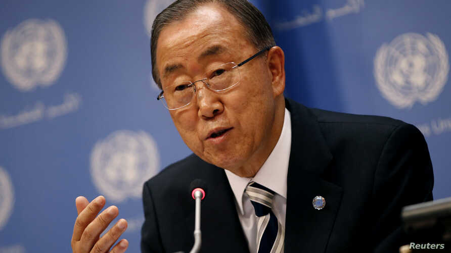 United Nations Secretary General Ban Ki-moon speaks at a news conference ahead of the 69th United Nations General Assembly at U.N. headquarters in New York, September 16, 2014.