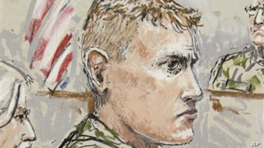 Artist's sketch of U.S. Army Staff Sergeant Calvin Gibbs in court (File)
