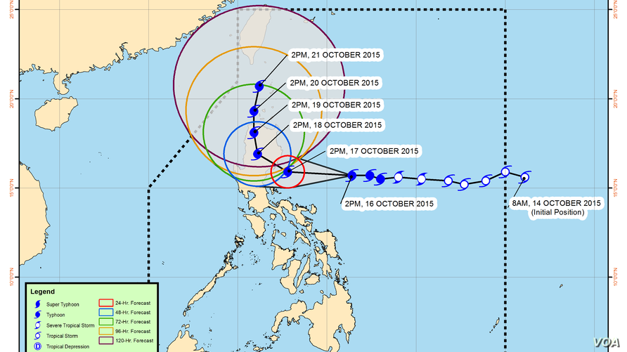 This graphic from the Philippine Atmospheric, Geophysical and Astronomical Services Administration shows the forcasted track for Typhoon Koppu, also called Typhoon Lando, as of Oct. 16, 2015.
