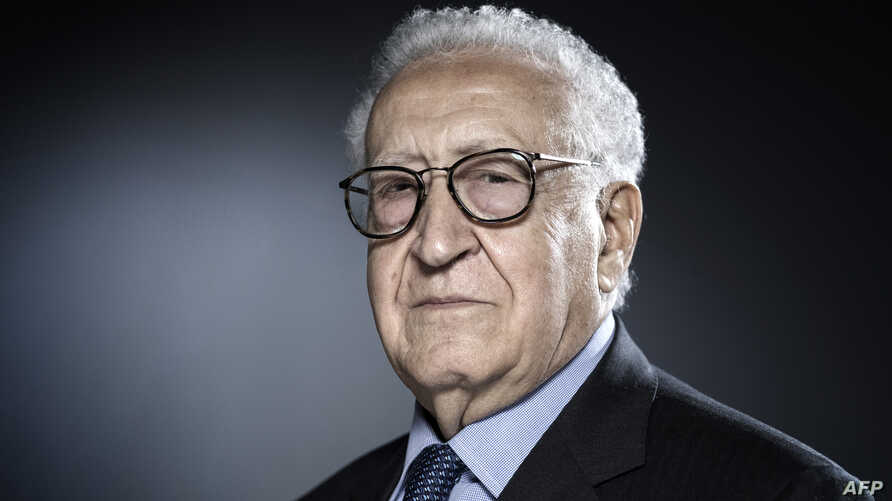FILE - Former United Nations and Arab League Special Envoy to Syria, Lakhdar Brahimi poses during a photo session in Paris on Dec. 11, 2017.
