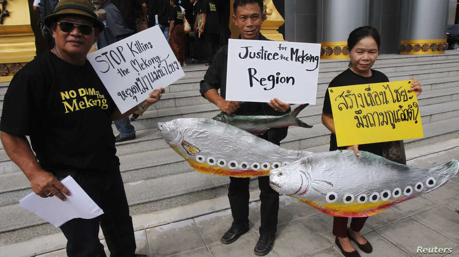 Villagers hold fish-shaped placards at Thailand's Administrative Court, Bangkok, June 24, 2014.