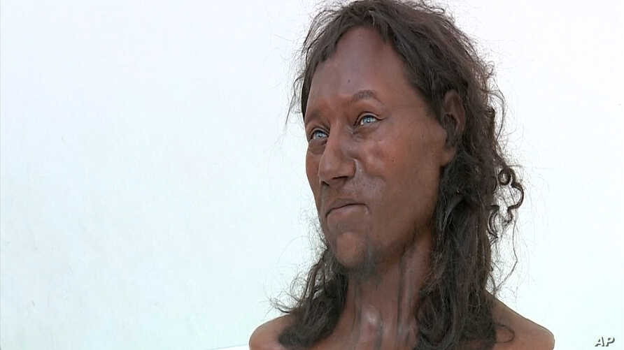 """Dutch """"paleo artists"""" Alfons and Andrie Kennis' likeness of """"Cheddar Man"""", an ancient Briton scientists believe had dark skin and blue eyes."""