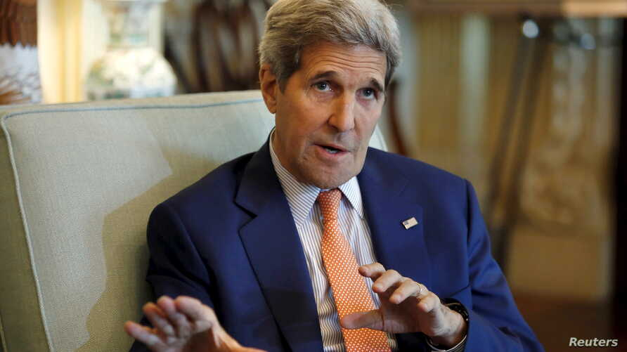 FILE - U.S. Secretary of State John Kerry talks to the media after a meeting with Saudi Foreign Minister Adel al-Jubeir at the State Department in Washington, July 16, 2015.