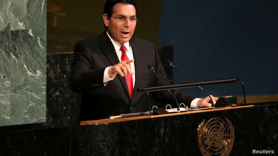 Israeli Ambassador to the United Nations Danny Danon addresses a United Nations General Assembly meeting ahead of a vote on a draft resolution that would deplore the use of excessive force by Israeli troops against Palestinian civilians at U.N. headq