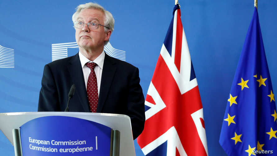 Britain's Secretary of State for Exiting the European Union David Davis looks on during a joint news conference with European Union's chief Brexit negotiator Michel Barnier (not pictured) ahead of Brexit talks in Brussels, Belgium Aug. 28, 2017.