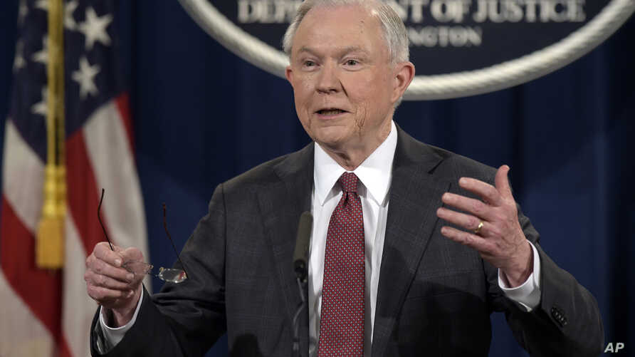 Attorney General Jeff Sessions speaks during a news conference at the Justice Department in Washington, March 2, 2017.