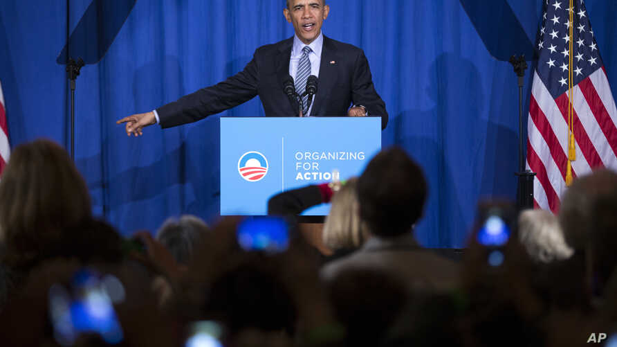 President Barack Obama speaks during a Organizing for Action event, on Nov. 9, 2015, in Washington, D.C. Obama thanked the group for their work in promoting his policies.