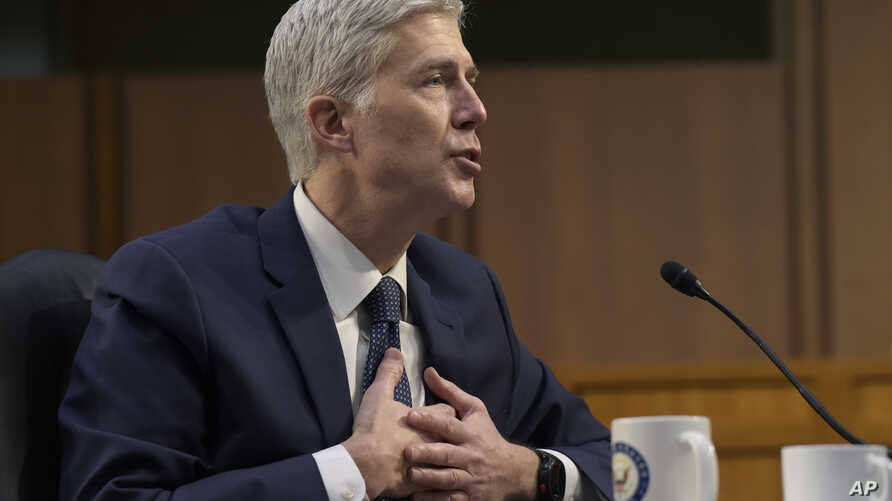 Supreme Court Justice nominee Neil Gorsuch testifies on Capitol Hill in Washington, March 22, 2017, during his confirmation hearing before the Senate Judiciary Committee. Senate Supreme Court