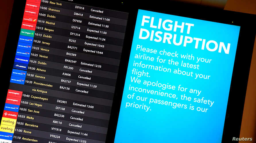 An arrivals board in the South Terminal building at Gatwick Airport, after the airport reopened to flights following its forced closure because of drone activity, in Gatwick, Britain, Dec. 21, 2018.