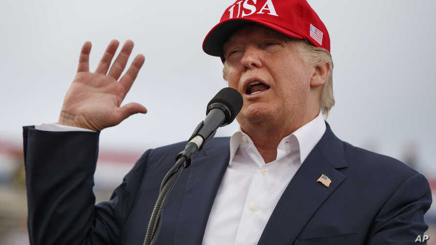 FILE - In this Dec. 17, 2016 photo, U.S. President-elect Donald Trump speaks during a rally at Ladd-Peebles Stadium in Mobile, Ala.