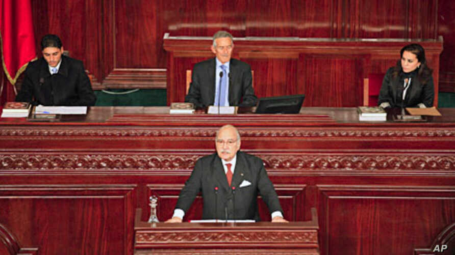 Outgoing interim president Fouad Mebazza (front) speaks during the opening session of Tunisia's constitutional assembly in Tunis November 22, 2011