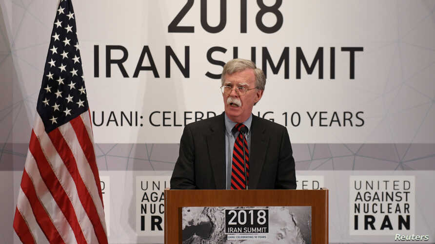 FILE - U.S. National Security Adviser John Bolton speaks during the United Against Nuclear Iran Summit on the sidelines of the United Nations General Assembly in New York City, Sept. 25, 2018.