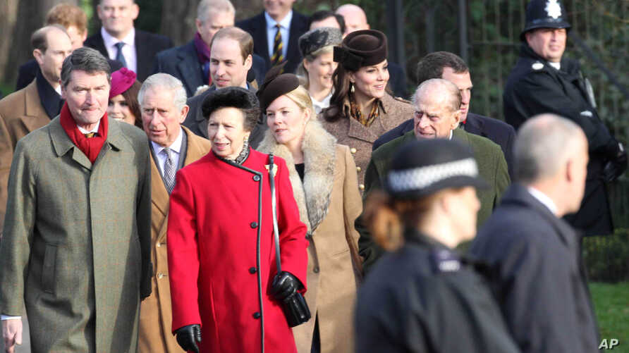 Members of The Royal Family including Prince William The Duke of Cambridge, Kate Middleton Catherine The Duchess of Cambridge, Prince Harry, Charles Prince of Wales, The Duke of Edinburgh and Princess Anne attend the Christmas Day church service on t