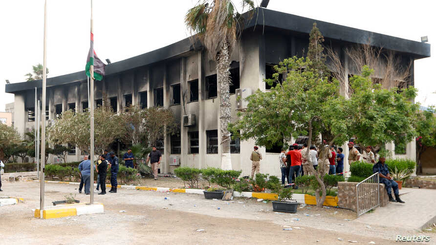 The electoral commission building after a suicide attack in Tripoli, Libya, May 2, 2018.