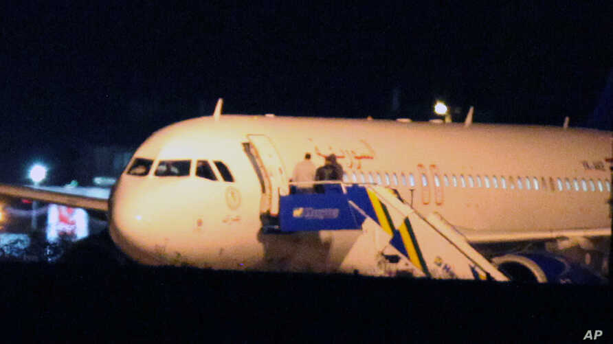 Syrian passenger plane that was forced by Turkish jets to land at Esenboga airport in Ankara, Turkey, Oct. 10, 2012